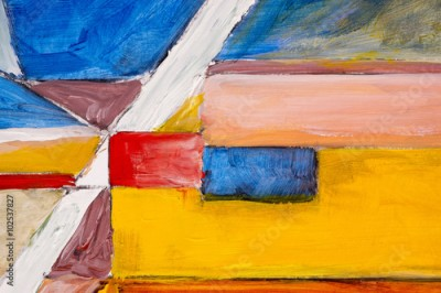Obraz A detail from an abstract painting; Rough-Edged Contrasting Blocks of Colour