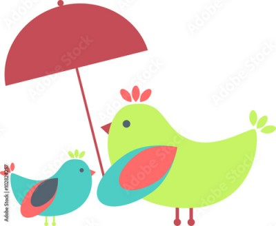 Obraz Birds family under an umbrella