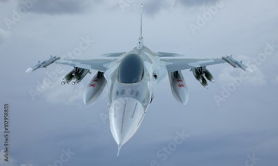 Fototapeta jet F-16 fly in the sky , american military fighter plane.  USA army