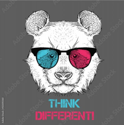 Plakat Portrait of the panda in the colored glasses. Think different. Vector illustration.
