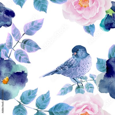 Fototapeta Watercolor seamless pattern with flowers and birds.