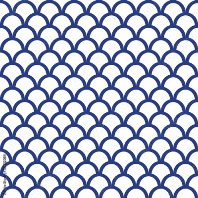 Fototapeta Blue Fish Scale Seamless Pattern