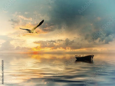 Obraz Vintage landscape with boat and birds
