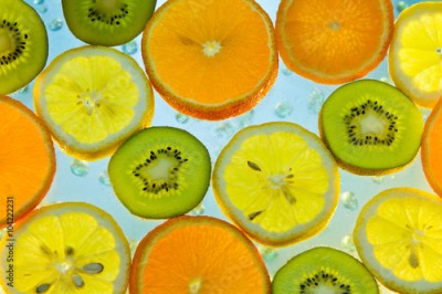 Obraz na Szkle Background of fruit in water with bubbles