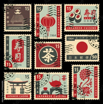 Obraz na Szkle set of postage stamps on the theme of Japanese cuisine. Hieroglyph Japan Post, Sushi, Tea