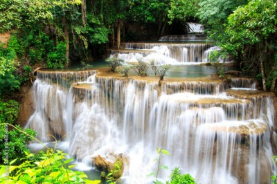 Obraz Huai Mae Khamin waterfall in deep forest Thailand.