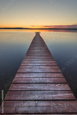 Obraz na Plexi Old wooden pier on sunset
