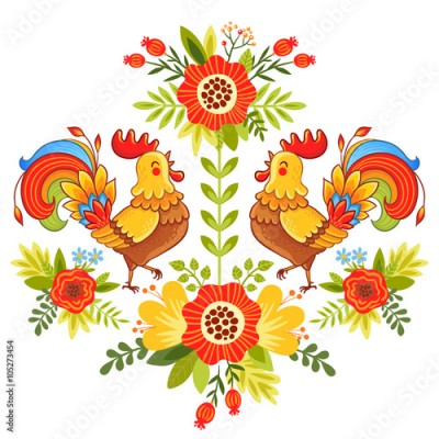 Fototapeta Folk ornament with flowers, traditional pattern. Vector illustration of bright and colorful roosters flower on a white background.
