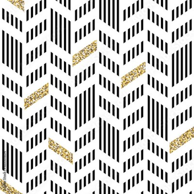 Panel Szklany Seamless Chevron Pattern. With Glittering Gold and thin lines