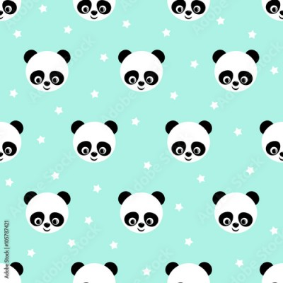 Fototapeta Panda with stars seamless pattern on blue background. Cute design for print on baby's clothes. Vector background with smiling baby animal panda. Child style illustration.