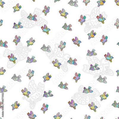 Fototapeta The seamless vector pattern with decorative doodle birds