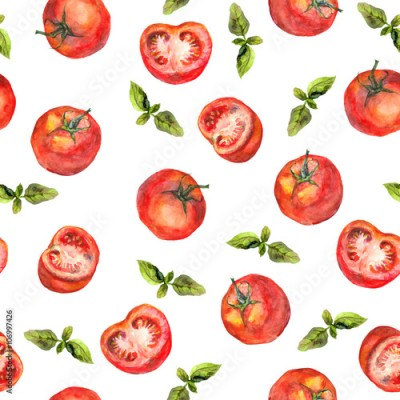 Fototapeta Seamless wallpaper with tomato vegetables and green basil