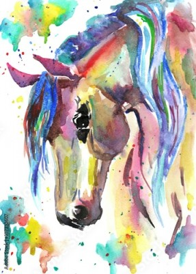 Plakat Horse head. Color watercolor illustration. Hand drawn