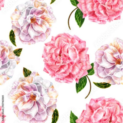 Naklejka Seamless background pattern with vintage style watercolor roses