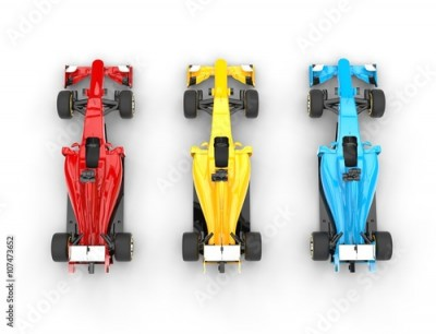 Fototapeta Formula one cars - primary colors - top view - isolated on white background.