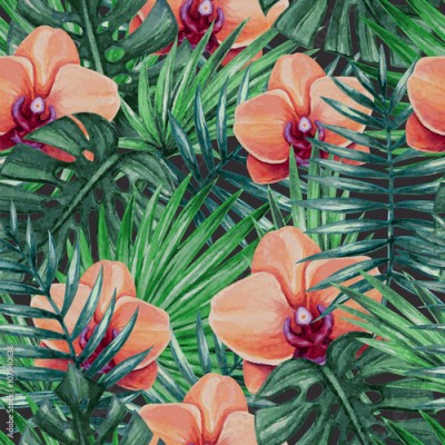 Obraz Watercolor orchid flower and palm leaves seamless pattern. Vector illustration.