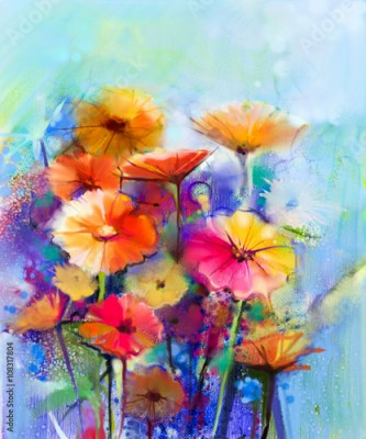 Obraz Abstract floral watercolor painting. Hand paint White, Yellow, Pink and Red color of daisy- gerbera flowers in soft color on blue- green color background.Spring flower seasonal nature background
