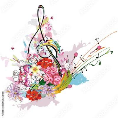 Fototapeta Summer music with flowers and butterfly, colorful splashes.