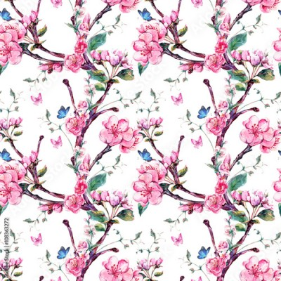 Fototapeta Watercolor seamless pattern with flowers apricot tree branches