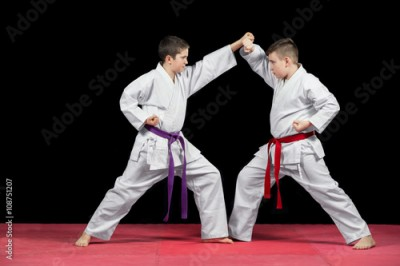 Obraz na płótnie Two boys in white kimono fighting isolated on black background