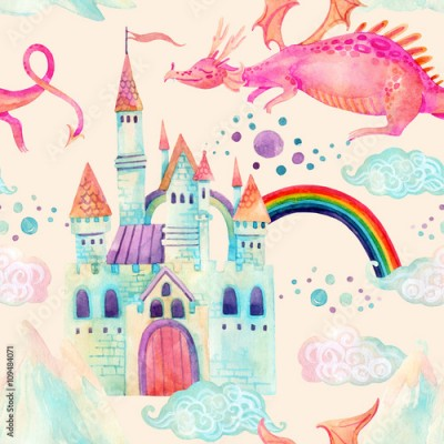 Naklejka Watercolor fairy tale seamless pattern with cute dragon, magic castle, mountains and fairy clouds