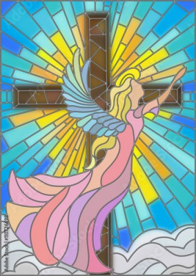 Naklejka Illustration in stained glass style with an angel on the background of the cross ,sky and clouds