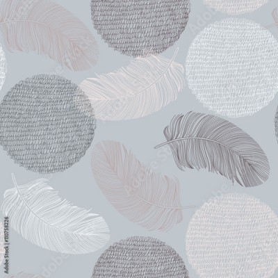 Fototapeta Seamless pattern with hand-drawn feathers and circles.