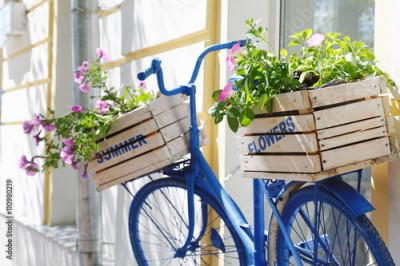 Obraz old bicycle with flowers box