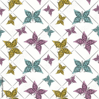 Obraz na płótnie Floral seamless pattern in retro style, cute cartoon butterflies white background