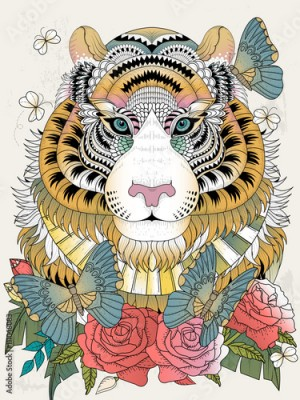 Fototapeta Imposing tiger adult coloring page