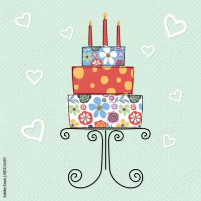 Obraz Birthday cake with flower pattern design