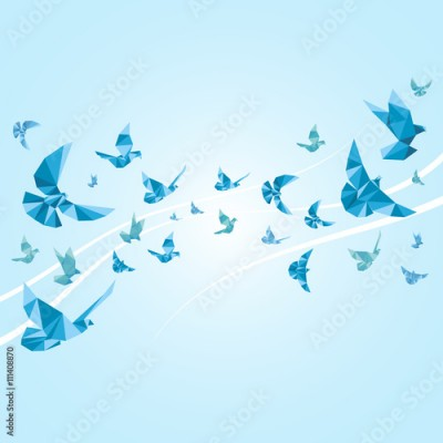 Panel Szklany Origami paper doves. Vector abstract background