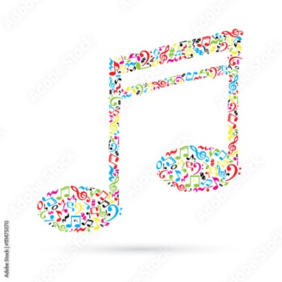 Fototapeta Music note made of music notes on white background. Colorful notes pattern.  Note shape. Poster and decoration idea.
