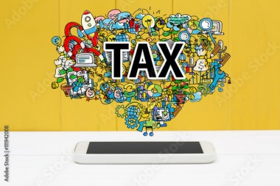Fototapeta Tax concept with smartphone