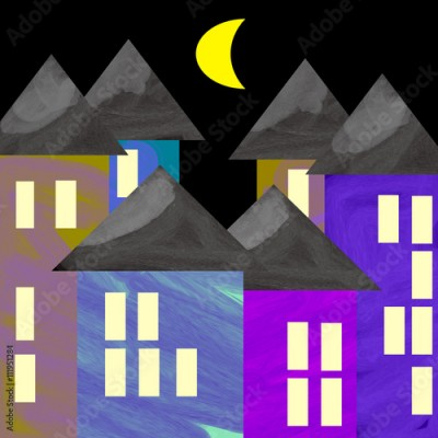 Fototapeta Colored houses in a dark night