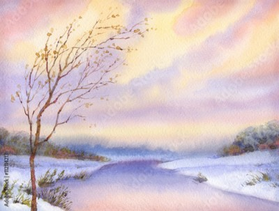 Obraz Watercolor landscape. Yellowed tree over snow-covered lake