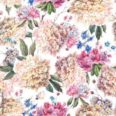 Obraz na Szkle Vintage Floral Watercolor Seamless Pattern with White Peonies