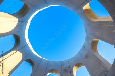 Fototapeta blue sky through abstract roof window