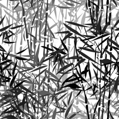 Fototapeta monochrome tropical bamboo vector seamless pattern on a black background