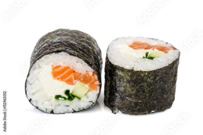 Obraz na płótnie Maki sushi, two rolls isolated on white