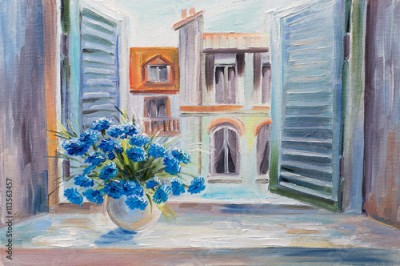 Plakat oil painting. flowers in the balcony, beautiful rooftops in summer, colorful watercolour