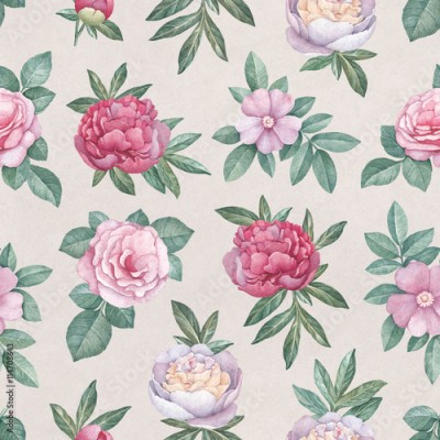 Obraz na Szkle Watercolor flowers illustration. Seamless pattern