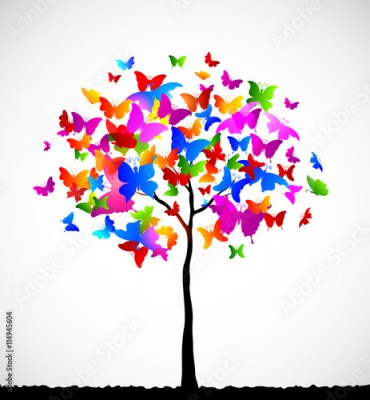Obraz Abstract colorful background with butterflies