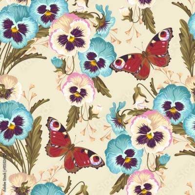 Panel Szklany Vintage pansy seamless