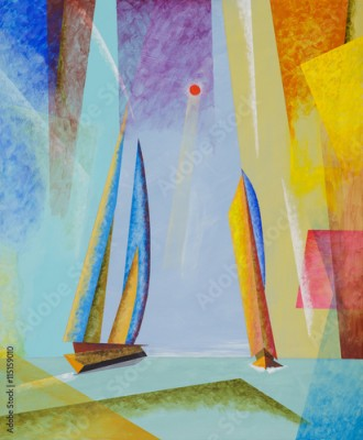 Obraz na płótnie A semi-abstract seascape with yachts.