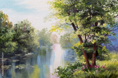 Plakat Oil painting landscape - lake in the forest, summer day