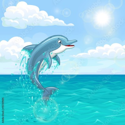 Fototapeta Cheerful dolphin in summer sea