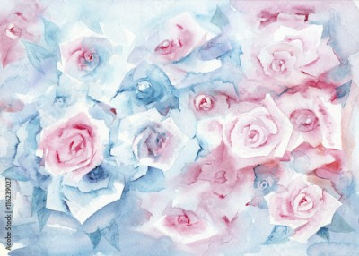 Obraz na płótnie Watercolor painting roses. Delicate pastel background with pink and blue flowers.