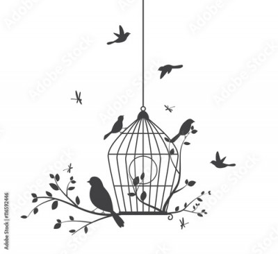 Fototapeta Birds silhouette with tree and birdcages