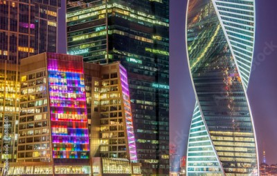 Fototapeta Night view of the Moscow International Business Center, also referred to as Moscow City is a commercial district in central Moscow, Russia.
